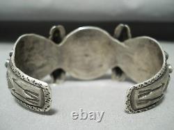 Vers La Fin Des Années 1800/ Début Des Années 1900 Vintage Bracelet En Argent Navajo Turquoise