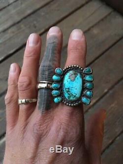 Vieux Pion Anneau Navajo Début Argent Sterling Turquoise 925 6,75 6 3/4 6,5 6 1/2