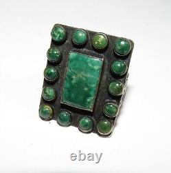 Vieux Pion Navajo Cerrillos Turquoise Ring Sterling Early Native American Taille 6