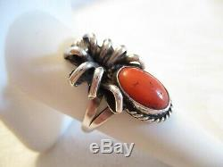 Vieux Pion Vintage Red Coral Sterling Spider Argent Early Navajo Sz 7.5 Ring