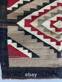 Vieux Tapis Navajo Tôt, 44.5x26blanket Native American Tissu Coloré, Tissage