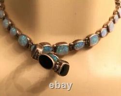 Vintage 925 Sterling Noir Onyx D'un Côté Et Opale Sur L'autre Collier 16