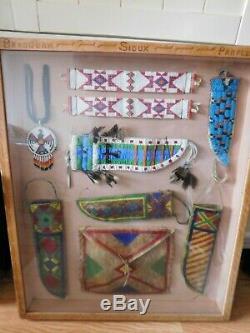 Vintage Début Des Années 1900 En Cuir Perlé Sioux Native American Couteau Gaine