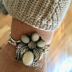 Vintage Début Des Années 70 Navajo Argent Mère Pearl Grand Alex Begay Bracelet Manchette
