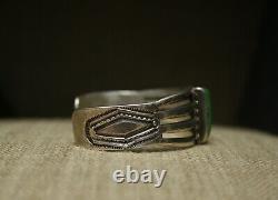 Vintage Early Navajo En Argent Sterling Turquoise Bracelet C. 1920