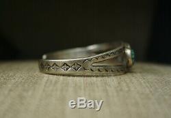 Vintage Early Navajo En Argent Sterling Turquoise Bracelet De Grande Taille