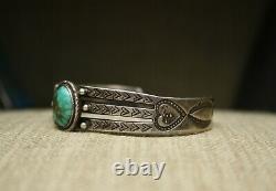 Vintage Early Navajo Lingot Argent Sterling Turquoise Bracelet C. 1920