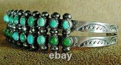Vintage Early Zuni Sterling Silver Petit Point Snake Eye Turquoise Cuff Bracelet