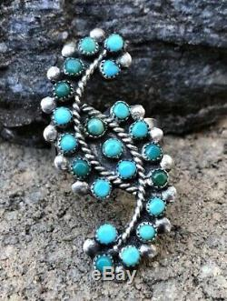 Vintage Early Zuni Sterling Silver & Turquoise Serpent Eye Petit Point Ring Sz 8.5