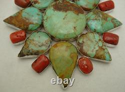 Vintage Massive Early Navajo Turquoise & Coral Sterling. Pendentif En Argent 925