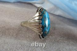 Vintage Native American Navajo Sterling Turquoise Early Ring Taille 11 Ring