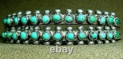 Vintage Primeur Zuni Sterling Argent Petit Point Snake Eye Turquoise Cuff Bracelet